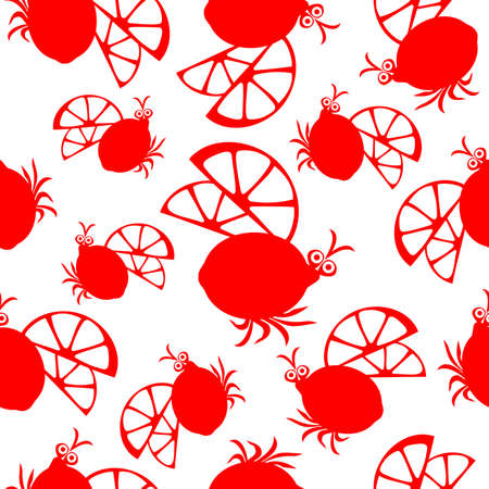 Seamless pattern with Beetle and lemon symbols. Can be used for invitations, greeting cards, print, gift wrap Ilustração