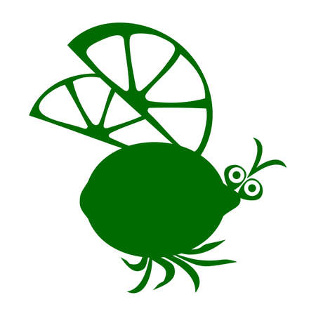 Beetle and lemon. Vector illustration