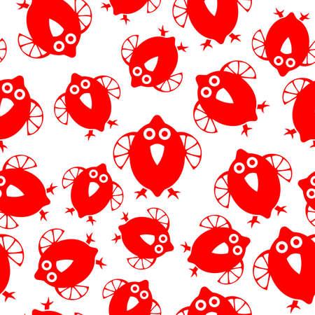 鳥とのシームレスなパターンとレモンのシンボル。招待状、グリーティング カード、印刷、ギフト用包装紙に使用できます。