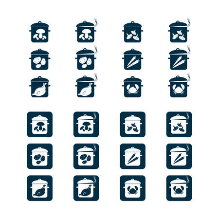 Pots with food - icons set, vector for web, print and other projects