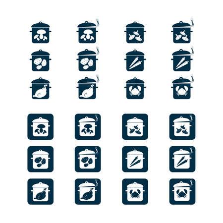 Potten met voedsel - geplaatste pictogrammen, vector voor Web, druk en andere projecten