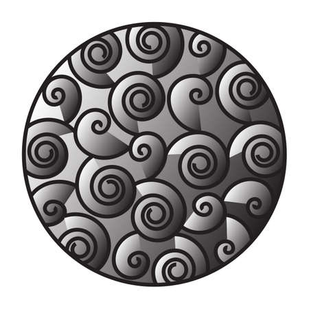 bal: Patera, round Ornament, Ball, circle, Black and white, spiral, curly. Grey