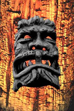 deterrence: demonic wood-mask