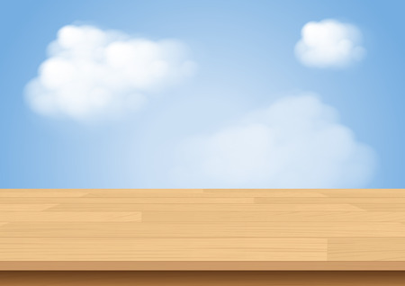 white wood floor: Wood table top on sky and cloud illustration