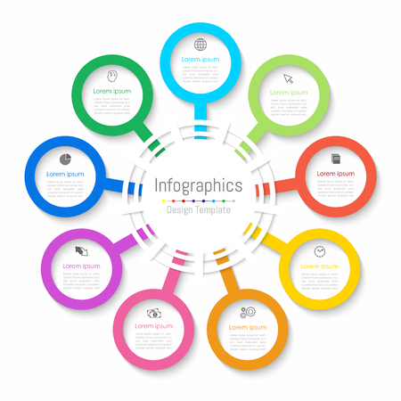 Infographic design elements for your business data with 9 options, parts, steps, timelines or processes. Paper style,