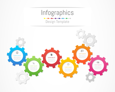 Infographic design elements for your business data with 6 options Illustration