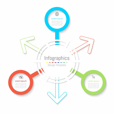 Infographic design elements for your business data with 3 options, parts, steps, timelines or processes. Paper style, Vector Illustration. Illustration