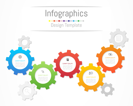 Infographic design elements for your business data with 5 options, parts, steps, timelines or processes. Gear wheel concept, Vector. Ilustração