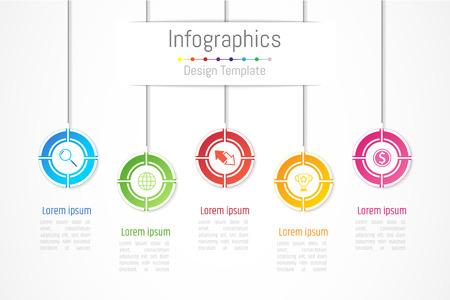 Infographic ontwerpelementen voor uw bedrijfsgegevens met 5 opties, onderdelen, stappen, tijdlijnen of processen. Vector illustratie.