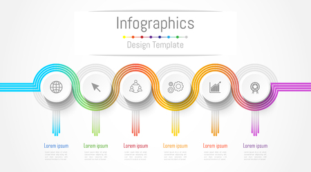 Infographic design elements for your business data with 6 options, parts, steps, timelines or processes. connection lines concept,  Vector Illustration.
