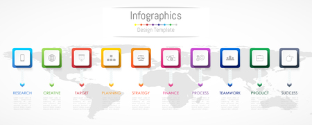 Infographic design elements for your business data with 10 options, parts, steps, timelines or processes. Vector Illustration. Elements of this image furnished by NASA Çizim