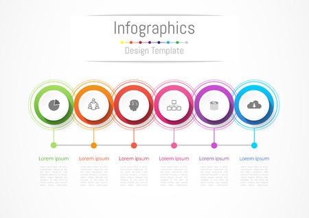 6 옵션, 부품, 단계 또는 프로세스, 벡터 일러스트와 함께 귀하의 비즈니스에 대 한 Infographic 디자인 요소.