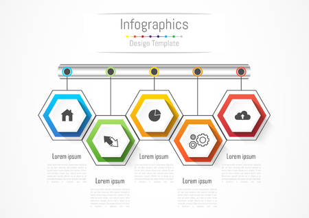 Infographic design elements for your business with 5 options, parts, steps or processes, Vector Illustration.