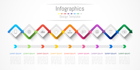 Infographic design elements for your business with 9 options, parts, steps or processes, Illustration.