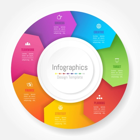 Infographic design elements for your business data with 7 options, parts, steps, timelines or processes, Arrow wheel circle style. Vector Illustration. 向量圖像