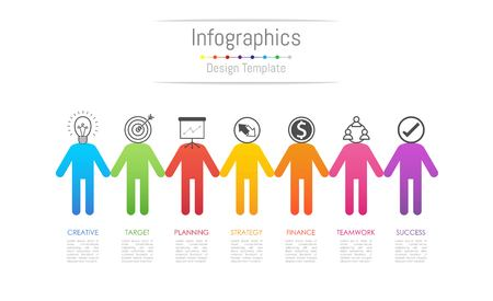 Infographic design elements for your business data with 7 options, parts, steps, timelines or processes, connecting people concept. Vector Illustration.
