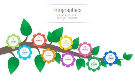 Infographic design elements for your business data with 9 options, parts, steps, timelines or processes, flowers and branch concept. Vector Illustration.