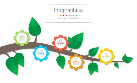 Infographic design elements for your business data with 5 options, parts, steps, timelines or processes, flowers and branch concept. Vector Illustration. Illustration
