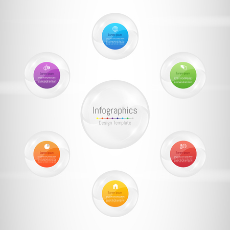 Infographic design elements for your business data with 6 options, parts, steps, timelines or processes. Transparent glass sphere concept, Vector Illustration.