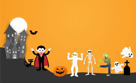 Happy halloween night party. Set of characters in cartoon paper style with pumpkin, ghost, dracula, skeleton, mummy, zombie, black cat, bat and castle, Vector illustration.