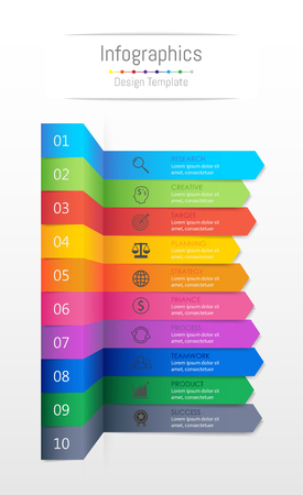 Infographic design elements for your business data with 10 options, parts, steps, timelines or processes, Sticky note paper concept. Vector Illustration.