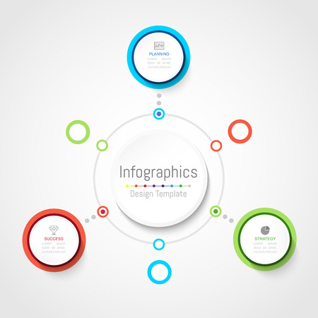 Infographic design elements for your business data with 3 options, parts, steps, timelines or processes, Circle round concept.