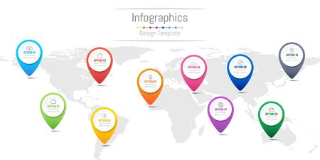 Infographic design elements for your business data with 10 options, parts, steps, timelines or processes, navigation pin concept. Vector Illustration. World map of this image furnished by NASA Illustration