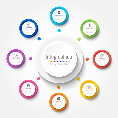 website backgrounds: Infographic design elements for your business data with 8 options, parts, steps, timelines or processes. Vector Illustration.