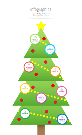 Infographic design elements for your business data with 9 options, parts, steps, timelines or processes. Christmas tree concept, Vector Illustration.