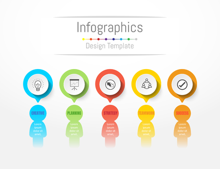 Infographic design elements for your business data with 5 options, parts, steps, timelines or processes. Peoples communication concept, Vector Illustration. Illustration