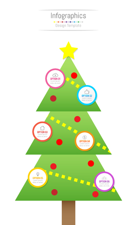 Infographic design elements for your business data with 6 options, parts, steps, timelines or processes. Christmas tree concept, Vector Illustration. Illustration