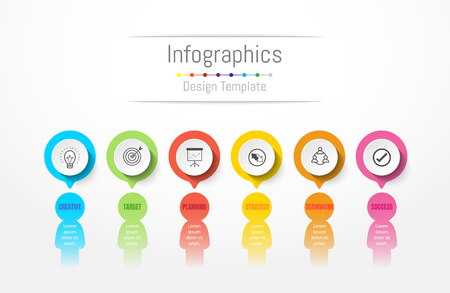 Infographic design elements for your business data with 6 options, parts, steps, timelines or processes. Peoples communication concept, vector illustration.