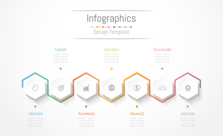 Infographic design elements for your business data with 7 options, parts, steps, timelines or processes. Vector Illustration. Çizim