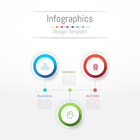 Infographic design elements for your business data with 3 options, parts, steps, timelines or processes. Illustration