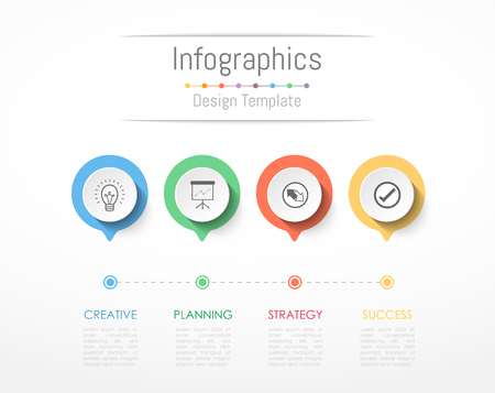 Infographic design elements for your business data with 4 options, parts, steps, timelines or processes. Vector Illustration. Illustration
