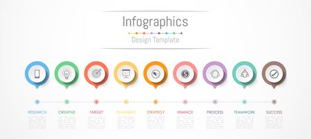 Infographic design elements for your business data with 9 options, parts, steps, timelines or processes. Vector Illustration. Vectores