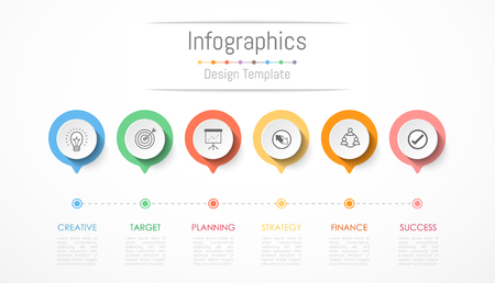 Infographic design elements for your business data with 6 options, parts, steps, timelines or processes. Vector illustration.
