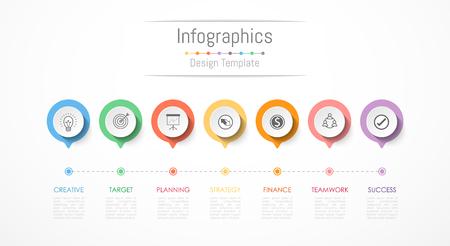 Éléments de conception infographiques pour vos données d'entreprise avec 7 options, pièces, étapes, calendriers ou processus. Illustration vectorielle