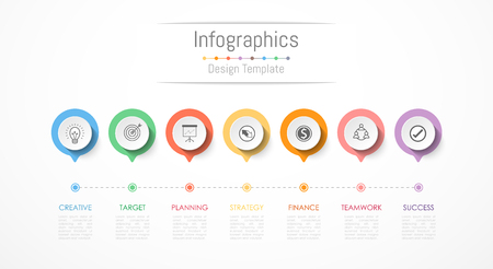 Infographic design elements for your business data with 7 options, parts, steps, timelines or processes. Vector Illustration. Vectores