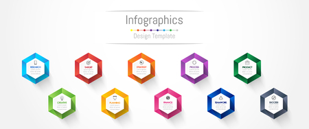 Infographic design elements for your business data with 10 options, parts, steps, timelines or processes. Vector Illustration. Illustration