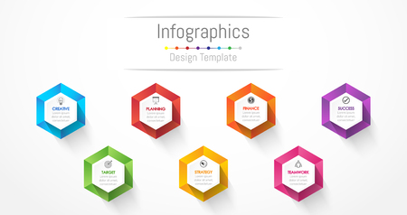 Infographic design elements for your business data with 7 options, parts, steps, timelines or processes.