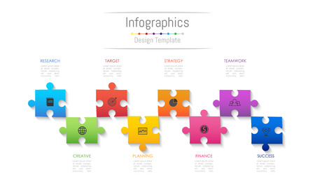 Infographic design elements for your business data with 8 options, parts, steps, timelines or processes. Jigsaw puzzle concept.