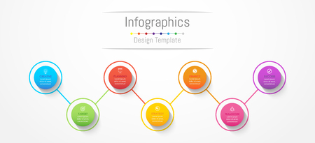 Infographic design elements for your business data with 7 options, parts, steps, timelines or processes. Vector Illustration. Vettoriali