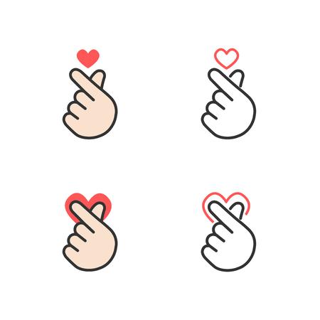 Ícone de mão fazendo pequeno coração, eu te amo ou sinal de mini coração isolado no fundo branco, ilustração vetorial