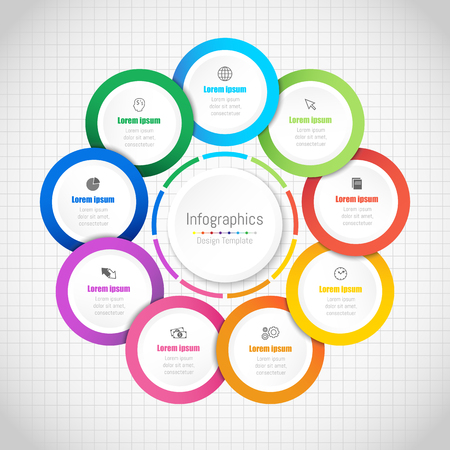 Info graphic design elements for your business data with 9 options, parts, steps, timelines or processes.