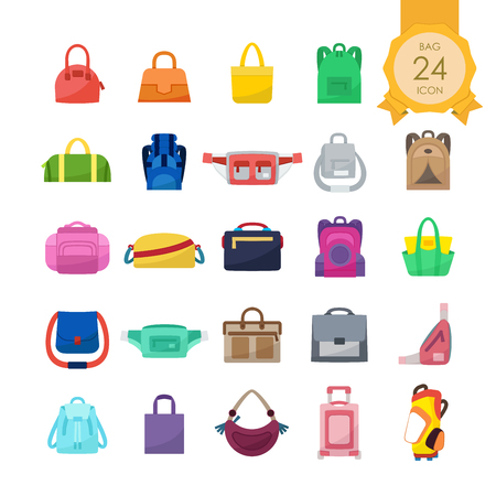 Colorful flat icons set of bags for website isolated on white background, Vector illustration.