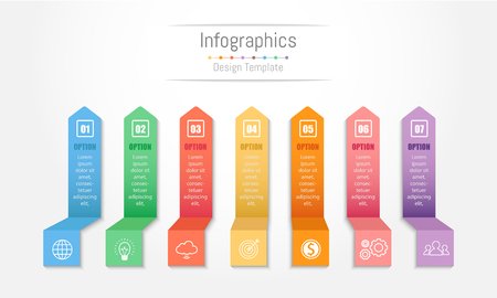 Infographic design elements for your business data with 7 options, parts, steps, timelines or processes. Vector Illustration. Illustration