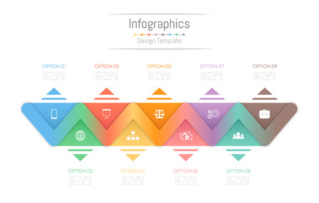 Info-graphic design elements for your business data with 9 options, parts, steps, timelines or processes. Vector Illustration. Vectores