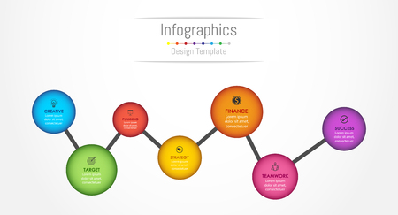 Info-graphic design elements for your business data with 7 options, parts, steps, timelines or processes. Vector Illustration.