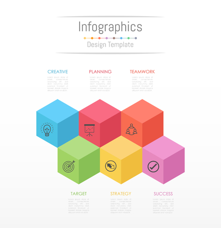 Infographic design elements for your business data with 6 options, parts,timelines or processes. Vector Illustration.